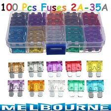 100 Standard Blade Auto Car Assorted Fuse Assortment Kits Sets 2A-35A Pack Box