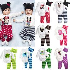 3tlg Kinder Baby Mädchen Jungen Strampler Outfits Kleidung Hut Hosen Set Cartoon