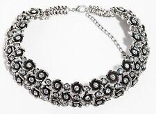 Genuine Silver Flower Crystal Choker Round Zara Bib Statement Necklace N285