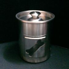 WAZIR CHAND & CO STAINLESS STEEL PET TREAT CANISTER with DOG BONE WINDOW ~~ NOS