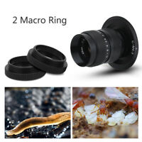 Black 25mm F/1.4 Lens+C-m4/3 Adapter+Macro Ring for Olympus EPL5 EPM3 EPL7 OM-D