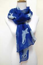 LADIES' SCARF, NAVY BLUE WITH WHITE RECLINING CATS - 01063