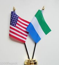 United States of America USA & Sierra Leone Double Friendship Table Flag Set