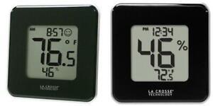 La Crosse Technology 302-604B Black Indoor Digital Thermometer &...