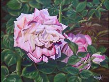 """Tea Roses, Original Oil Painting of """"Pink Roses V"""", Realism Floral, Framed"""