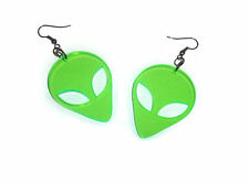 Alien Earrings Green Alien Head Dangle Earrings Retro 90's Laser Cut UV Acrylic