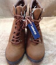 "Old Navy Women's Lace Up Ankle Boots Brown Fabric Uppers 3"" Heel Sz. 7"