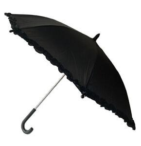 "KIDS Parasol Umbrella Black By Rainstoppers Ruffles Sun Shade 32"" NEW Ships FREE"