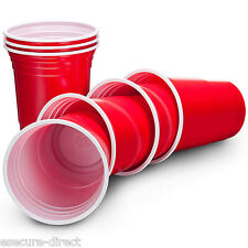VonShef Amercian 16oz Red Solo Party Cups Plastic Disposable Apple Red 100 Pack