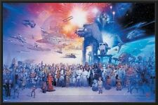 Star Wars - Galaxy 24x36 Wood Framed Poster Art Photo collage all characters