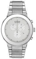 Citizen Eco Drive Men's Chronograph White Dial Bracelet 43mm Watch AT2240-51A