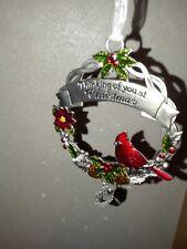 Ganz Cardinal Bird & Crystal Christmas Ornament-Thinking Of You At Christmas