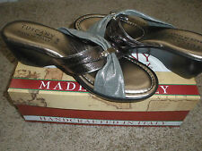 TUSCANY by EASY STREET Womens GENOA Pewter Fabric Open Toe Slides US 8.5 M