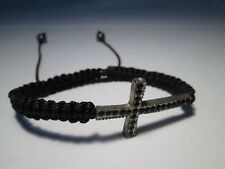 Woven Black Cord Friendship Bracelet with Metal Cross and Black Rhinestones