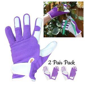 2 Pairs - Ladies Purple Gardening Gloves Quality Soft Leather Girls Garden Glove