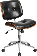 contemporary wood mid century office chair black leather