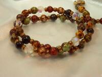 Colorful Scottish Agate Glass Beaded Necklace Vintage 1970's 23JL9