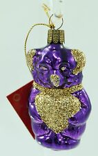 Vintage Purple Glass Bear Germany Christmas Ornament Holiday Tree Decoration