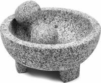 8 Inch Granite Molcajete Mortar & Pestle Spice Grinder For Kitchen And Cooking