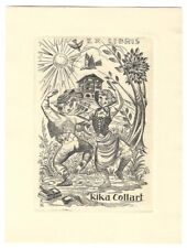 J. FERNANDO SAEZ: Exlibris für Rika Collart; Tanzende in Tracht