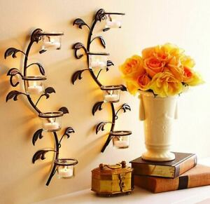 Wandteelichthalter, Wandleuchter, Kerzenhalter, Metall, 4 Größen