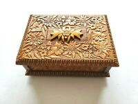 Hand Carved Wooden Trinket Jewelry Chime Music Box Made in Switzerland Vintage