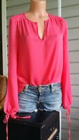Catherine Malandrino Cereza Pink Blouse Top Shirt Open Side Split Sleeves NWT