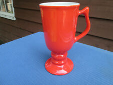 Hall China PEDESTAL COFFEE CUP....CHINESE RED....TAPERED STYLE DESIGN....LN !