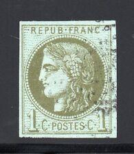 FRANCE 1870 ÉMISSION BORDEAUX ND, YVERT N°39C obl., 1c Olive, TB - YVERT 175 €