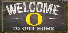 "Oregon Ducks Welcome to our Home - Wood Sign NEW 12"" x 6"" Decoration Gift"