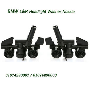 Left&Right Headlight Washer Spray Nozzle For BMW 3 Series E46 98-04 61674290868