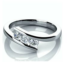 0,35 ct tensión Set De 3 Diamantes Trilogía Anillo De Compromiso Hecha A Mano En Oro Blanco.