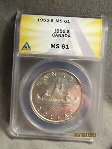 1955  CANADA   SILVER   DOLLAR...ANACS   MS-61