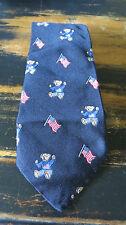 POLO BY RALPH  LAUREN  Happy Bear  USA  Flag  Print  SILK NECK TIE.