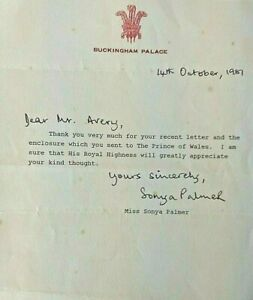 1981 Prince Charles thank you letter sent from Buckingham Palace
