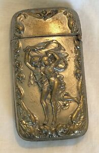 New York Advertising McKeon Clothiers Silver Plate Victorian Vesta Match Safe