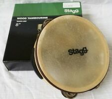 """New Stagg Tawh-082 8"""" Tambourine with Buffalo Skin Head and Two Rows of Jingles"""