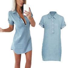 Sexy Womens Summer Short Sleeve Slim Fit Denim Button Casual Shirt Mini Dress