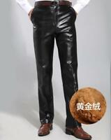 Mens Fur Lining Faux Leather Trousers Waterproof Casual Loose Pants Motorcycle V