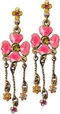 Pilgrim Enamel Flowers Gold Plated Earrings Multicolor Swarovski Crystals