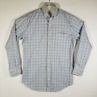 Men's Peter Millar Button Down Dress Shirt Plaid Long Sleeve Medium 100% Cotton