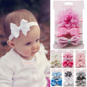 3pcs Newborn Headband Ribbon Elastic Baby Headdress Kids Hair Band Girls Bow V8o