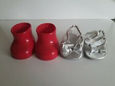 Genuine Build A Bear SHOES - Red Gumboots & Silver Heels