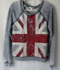Forever 21 British Flag Union Jack Sweatshirt Raglan Long Sleeve Gray Sm #7489