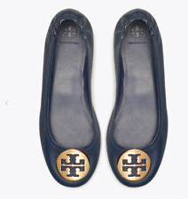 Tory Burch Women's Ink Navy Leather Ballet Classic Flats Gold LOGO