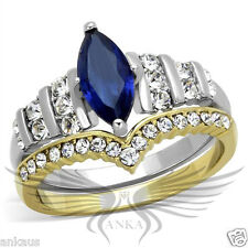 Brilliant Marquise Cut Synthetic Glass Two Tone Wedding Set 5 6 7 8 9 10 TK1796