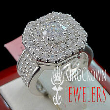LADIES WOMENS STERLING SILVER 14K WHITE GOLD FINISH ENGAGEMENT BRIDAL RING BAND