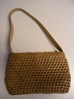"Fossil Handbag Purse Woven Leather brown 12 x 8""  #75082"