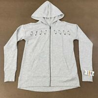 Ideology Women's SIze Small White Heather Full Zip Long Sleeve Hooded Jacket NWT
