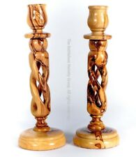 Set of 2 Olive Wood Candle holders table dinner wooden stick